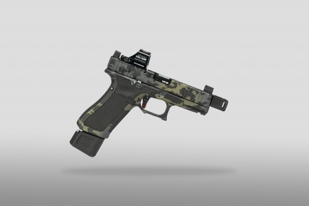 Cerakoted glock has slide cuts and cerakote multicam black